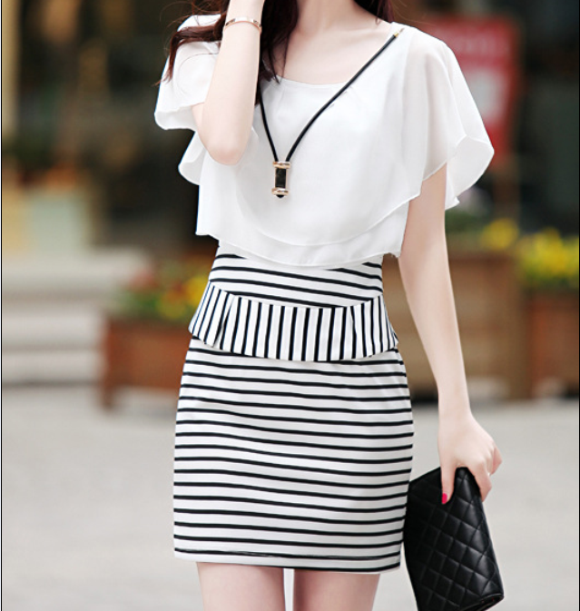 Summer 2014 OL hip new Korean fashion striped skirt sexy slim short sleeve chiffon