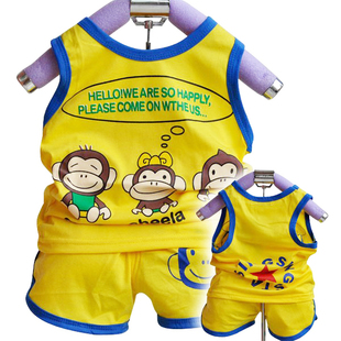  coin 2012 Summer infant clothing children's clothing new monkey shirt + shorts two piece suit
