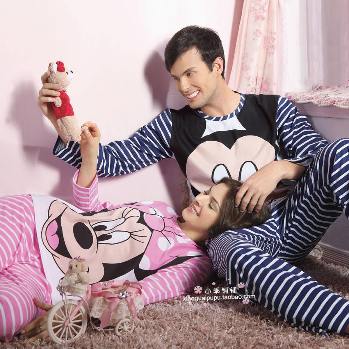 Пижама Miqimini пара пижама длинный рукав костюм пара осень весна одежда хлопок пижамы #1653 Хлопковый трикотаж Персонажи мультфильмов Свитер Для отдыха дома Для пары