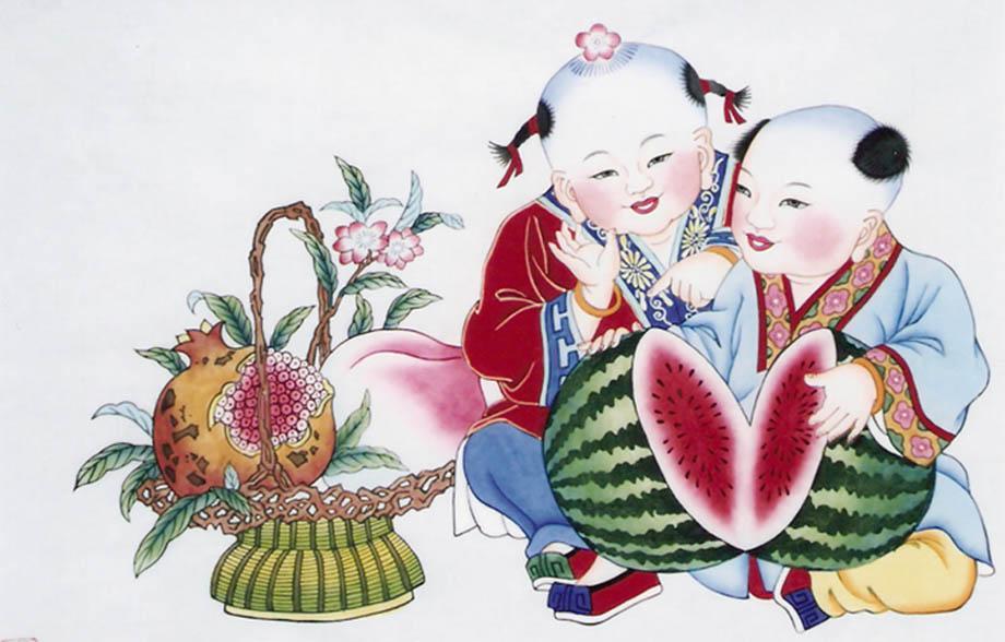 天津杨柳青年画《掰瓜露子》【宣纸,手绘】●卷轴画●送礼佳品