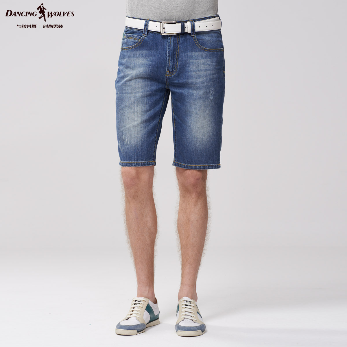 与狼共舞2014夏装新款男士时尚纯棉水洗休闲牛仔短裤989414313