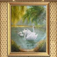 欧式油画手绘天鹅湖荷花客厅玄关装饰画走廊楼过道风景有框画挂画