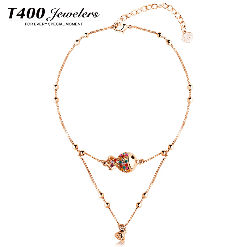 T400 authentic new female Korean fashion Crystal anklet clownfish anklet bells for my birthday
