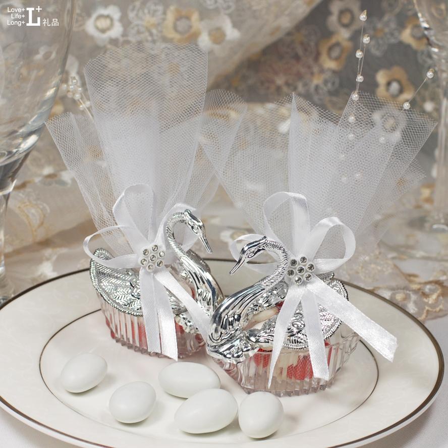 天鹅公主水晶喜糖袋子纱袋|结婚喜糖盒|欧式创意糖果盒|婚庆用品