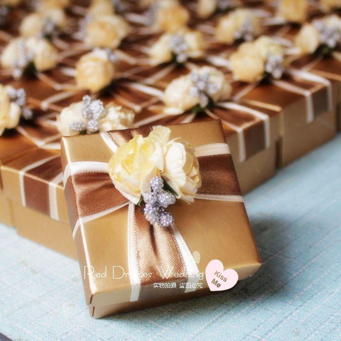 个性欧式创意喜糖盒 成品发货 限时促销 金色铝箔纸方盒 特价
