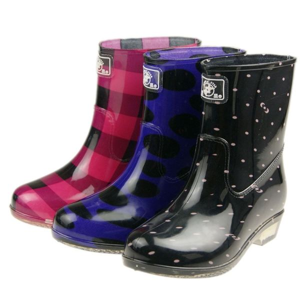 Double Star official authentic female half barrel slip boots rain boots rain boots in the tube female models fashion crystal clear water shoes