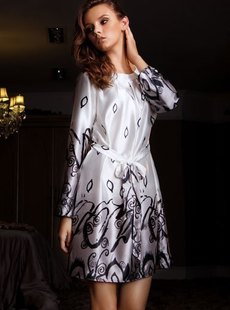 Dream ba Sally household to take new women's autumn of silk pajamas long sleeve  waist nightgown 01325