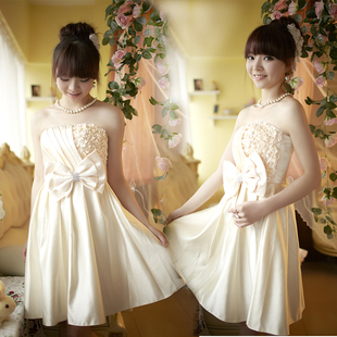 Luxury style bride Delta short dress/bridesmaid clothes cute Korean belly band small satin wedding dress gown