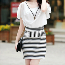 2014 new summer Korean women striped dress OL packet hip short sleeved chiffon dress sexy slim women