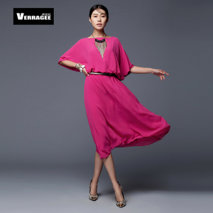 spring and summer in Europe and America major suit bat sleeve loose chiffon dress dress skirt women's dress code Xian