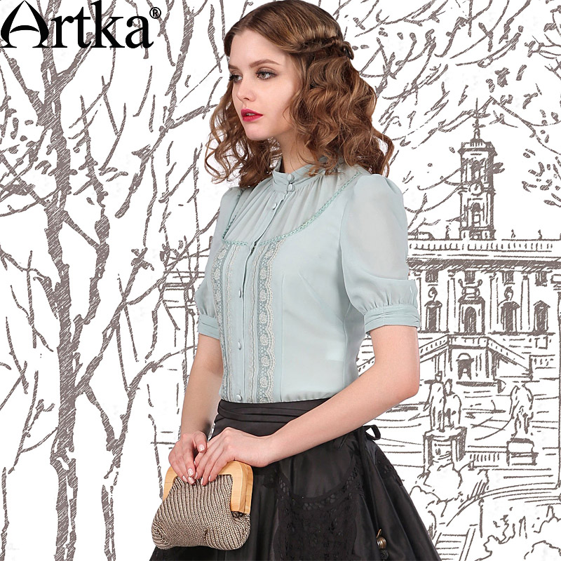 Artka  women shirts Show thin embroidered collar 2014 summer wear new snow spins unlined upper garment blouse summer shirts with short sleeves Taobao Agent