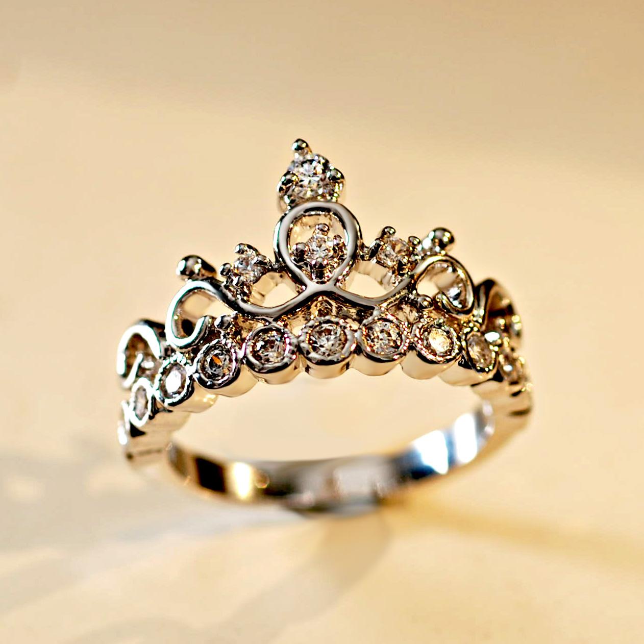 Индекс волны женщин кольца CatRing кольца корейского мило принцесса крон циркония кольцо 925 стерлингового серебра алмаз CZ