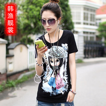 Han Yue Liang Sang Korean version of the new summer short-sleeve loose big yards female fashion cartoon short-sleeved t-shirt girls wear long section