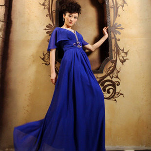 Qingguo deep v wedding dress wedding dresses Royal Blue shoulder MaxMara bride dress code LF1-1