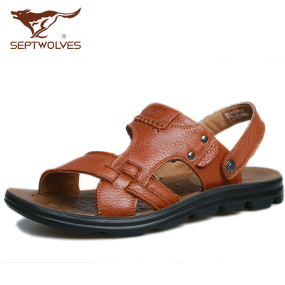 Seven male wolf genuine cowhide leather sandals 2014 new summer open-toed sandals soft breathable tide male Shi Xia
