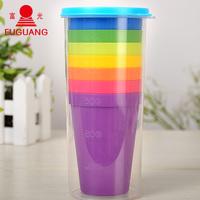 富光彩虹杯 塑料套杯创意飞碟杯子七彩口杯竞速叠水杯 家庭套装杯