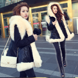 korean style stitching Dadongmen favorite leather vest thicker fur