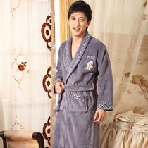 樱蒂婉妮秋冬男款浴袍知性男士睡衣家居服加厚珊瑚绒睡袍家居服