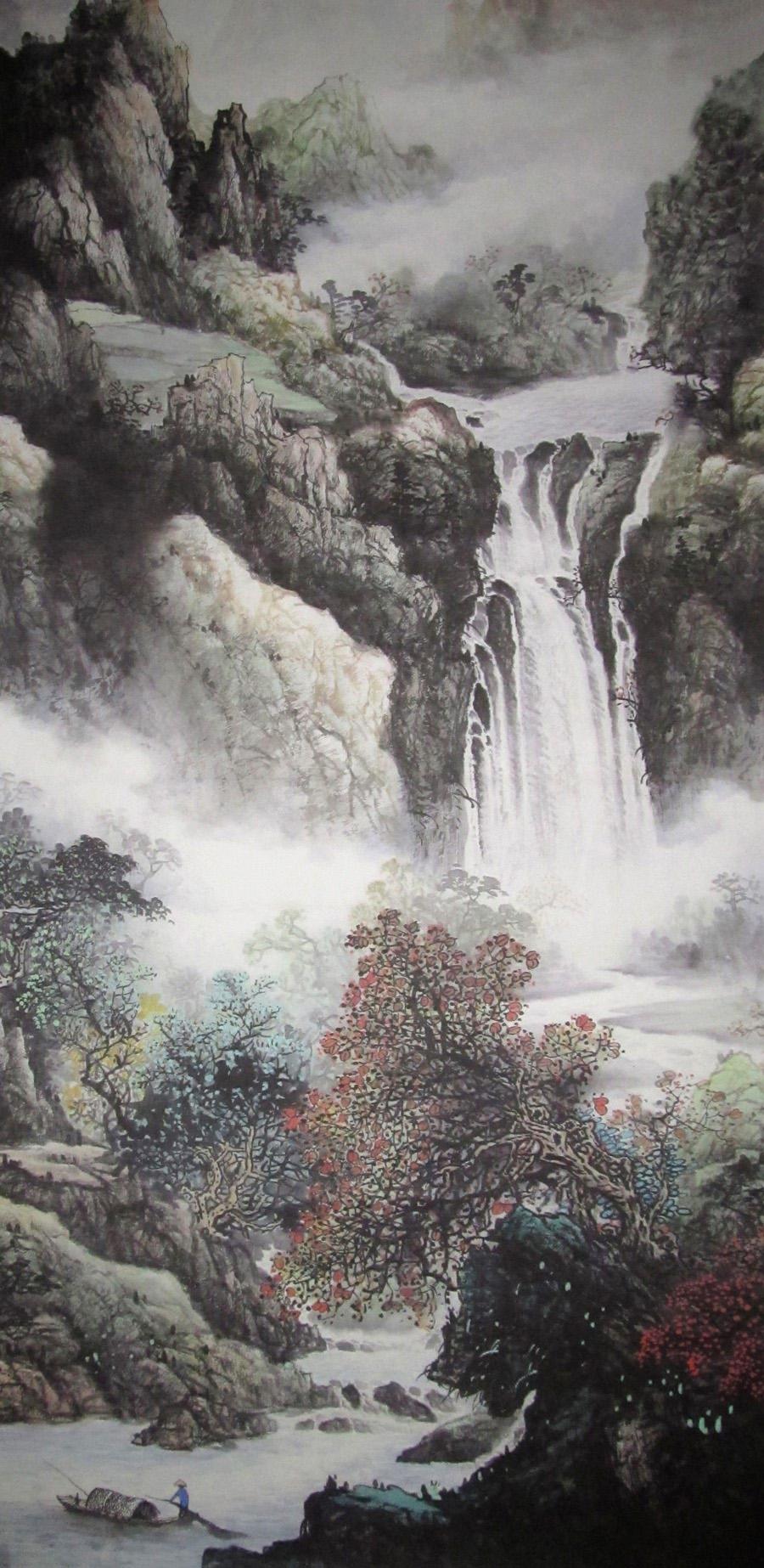 高仿国画 批发国画 山水画 装饰画 四尺竖幅 高山流水图片