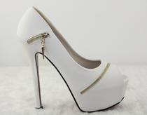 2012秋季新款女鞋时尚个性拉链鱼嘴鞋细超高跟14厘米夜店单鞋秋鞋