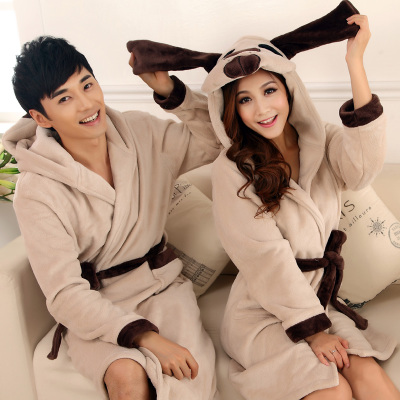 Flannel nightgown female autumn and winter coral velvet robe bathrobe couple cute cartoon thick winter men's bathrobe