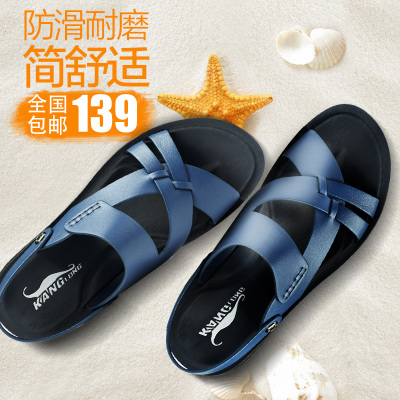 KANGLONG new summer trend of Korean Roman sandals men leather sandals casual sandals and slippers genuine