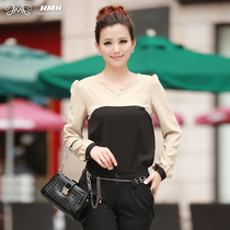 红漫红2013韩版春装新款女装新品优雅拼接长袖上衣雪纺衫232022