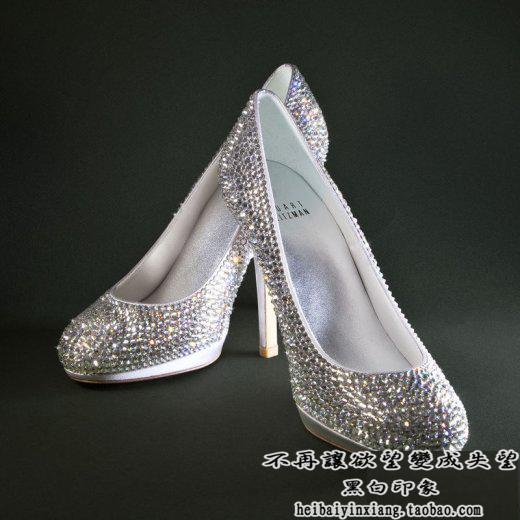 粘钻 玻璃鞋 水晶鞋 婚鞋 来鞋订做采用施华洛世奇水晶手工订制