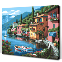 Diy hand-painted digital canvas bag mail couple sitting room big romantic seaside scenery painting manually 4050 coloured drawing or pattern