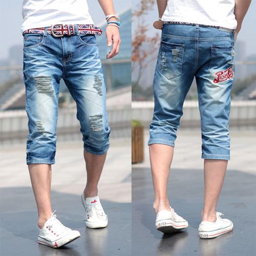 Джинсы мужские Новые мужские узкие стрейт джинсы мужские джинсовые обрезанное тенденция Джинсы стильные мужские Джокер летом и осенью