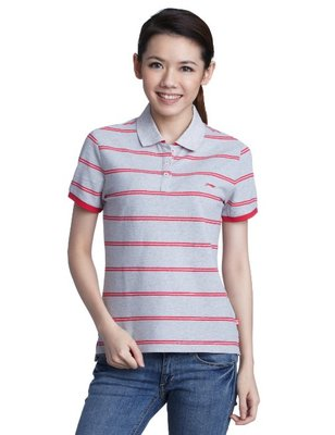 Li Ning authentic women's casual women's t-shirt lapel striped short-sleeved sport shirt POLO APLG224-1-2-4