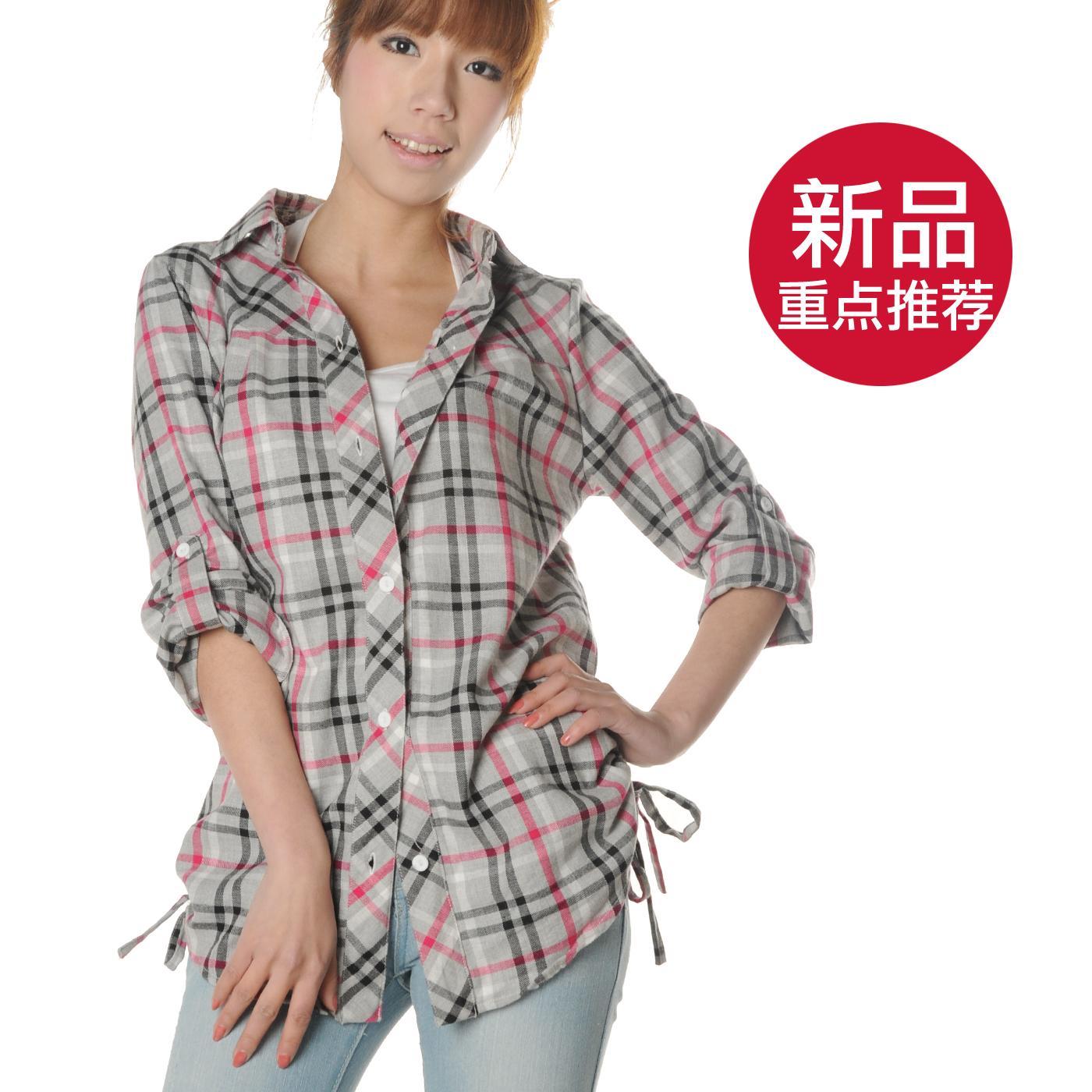 женская рубашка Meet collection 1343 Городской стиль Длинный рукав В клетку