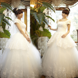 Luxurious 2012 new style bride wedding dress sweet Princess wedding dress perfect thin shoulder alignment