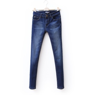 2012 new spring clothing trends wild skinny thin wash white scratch feet jeans for women WK1048