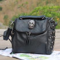 2012新款 韩版百搭时尚骷髅头欧美风铆钉鬼头单肩包斜挎包女包包