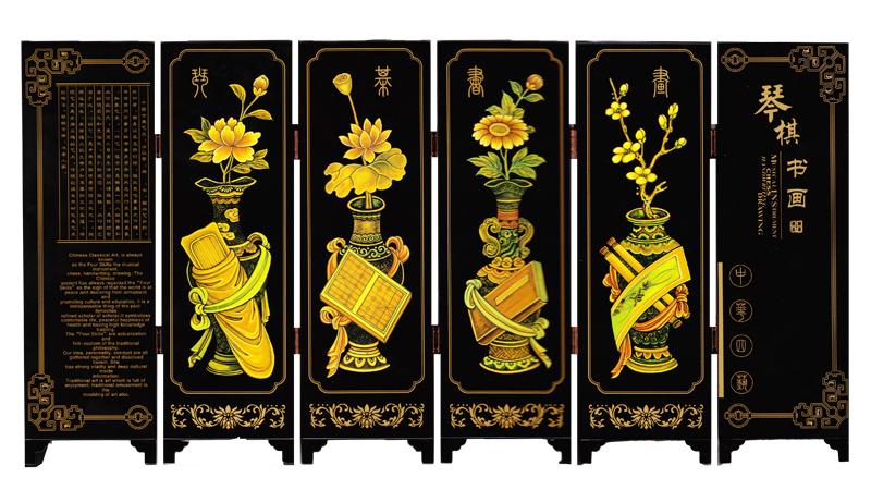 漆器仿古小屏风琴棋书画6扇 装饰摆件中国特色礼品 出国留学礼品图片