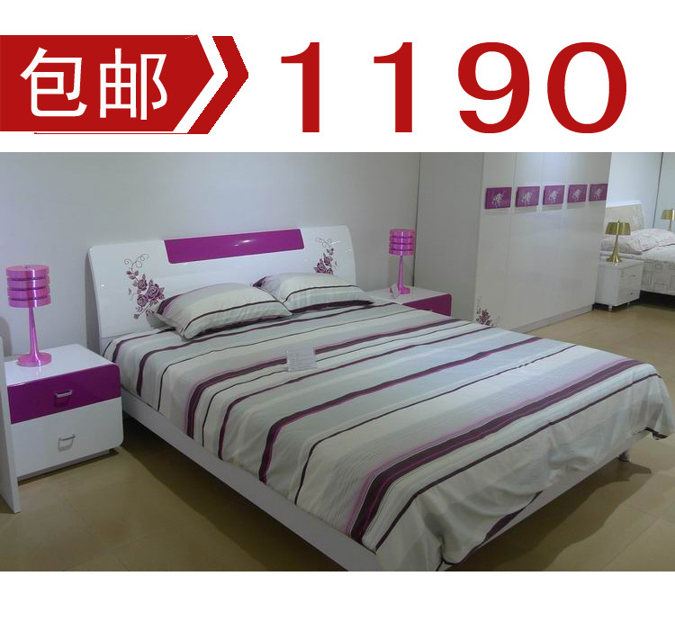 道明亮光板式/嫣红色/亮光烤漆A03板式1.8米大床/双人床/包邮