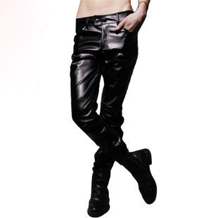 2013 spring shows current men's fashion popular mosaic PU leather pants men's spring spring sale