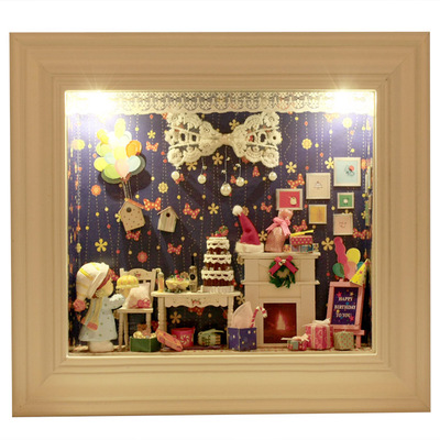 DIY hand-assembled frame cabin dimensional architectural models dream trip home ornaments ornaments creative gift