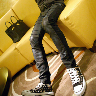 Fall/winter 2012 with new leather pants William male mosaic fashion moral character of Korean surge washed leather pants men