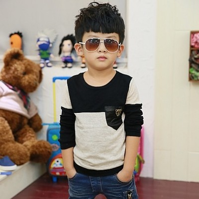 Spring 2014 new Korean models of child boys baby boy cotton long-sleeved T-shirt Kids T-shirt bottoming shirt