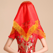Package mail The bride married red covering xi xi Headscarves big red Chinese embroidery happy character tassel LIDS