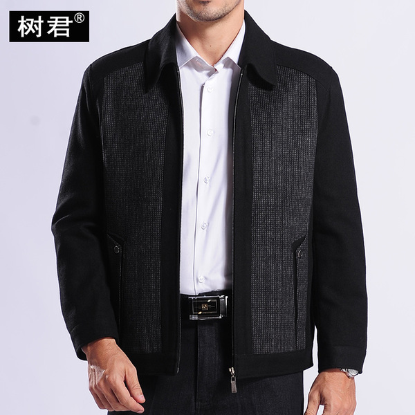 Jun tree woolen jacket middle-aged men's winter coat jacket men's fall and winter woolen jacket fitted Dad