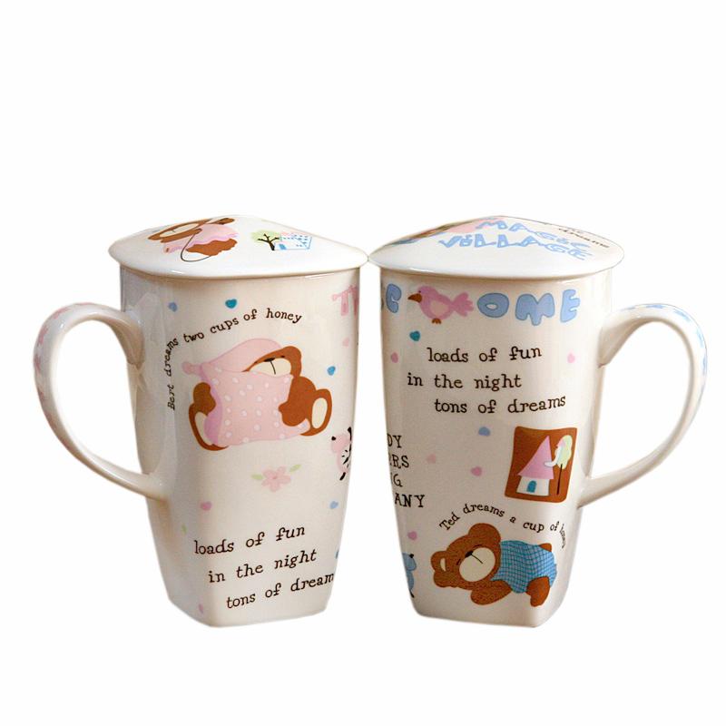 创意骨瓷杯子 情侣对杯 大容量水杯 带盖 陶瓷水杯 生日礼物