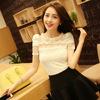 2014夏装蕾丝衫女士短袖雪纺衫 透明性感气质上衣女