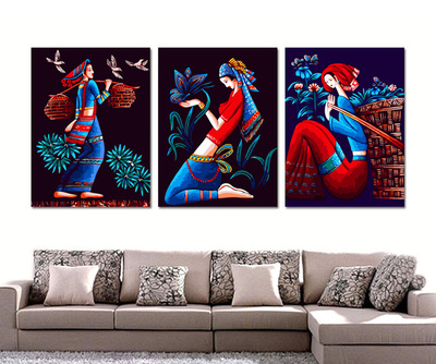 Jia Cai days Yan makeup woman living room digital painting three spell triple figures painted decorative painting diy Specials