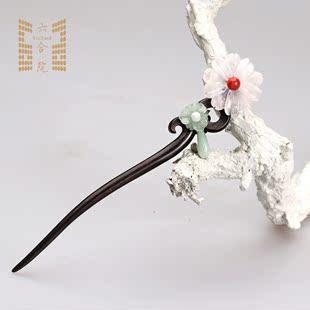 六合院 香魂 粉晶紫晶珍珠手工古代簪子盘发复古典发簪汉服配饰图片