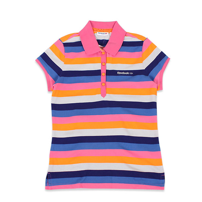 Рубашка поло Reebok k87071 POLO Женские 100 хлопок Стандартный Короткие рукава ( ≧35cm ) В полоску % Для спорта и отдыха
