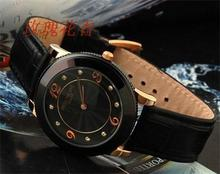 Swiss watch of high surface hardness of glass table leather strap couple