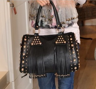 2013 autumn new female bag Korean fashion wave punk rivet bag tassel handbag shoulder bag diagonal bag
